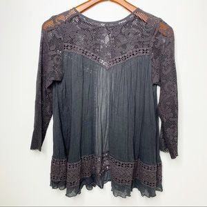 FREE PEOPLE Grey Swing Peasant Blouse Size Small